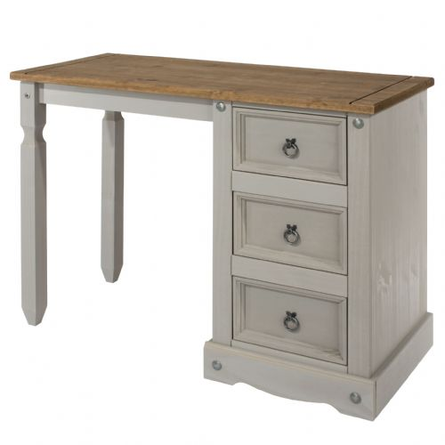 Premium Corona Grey Wash Single Pedestal Dressing Table